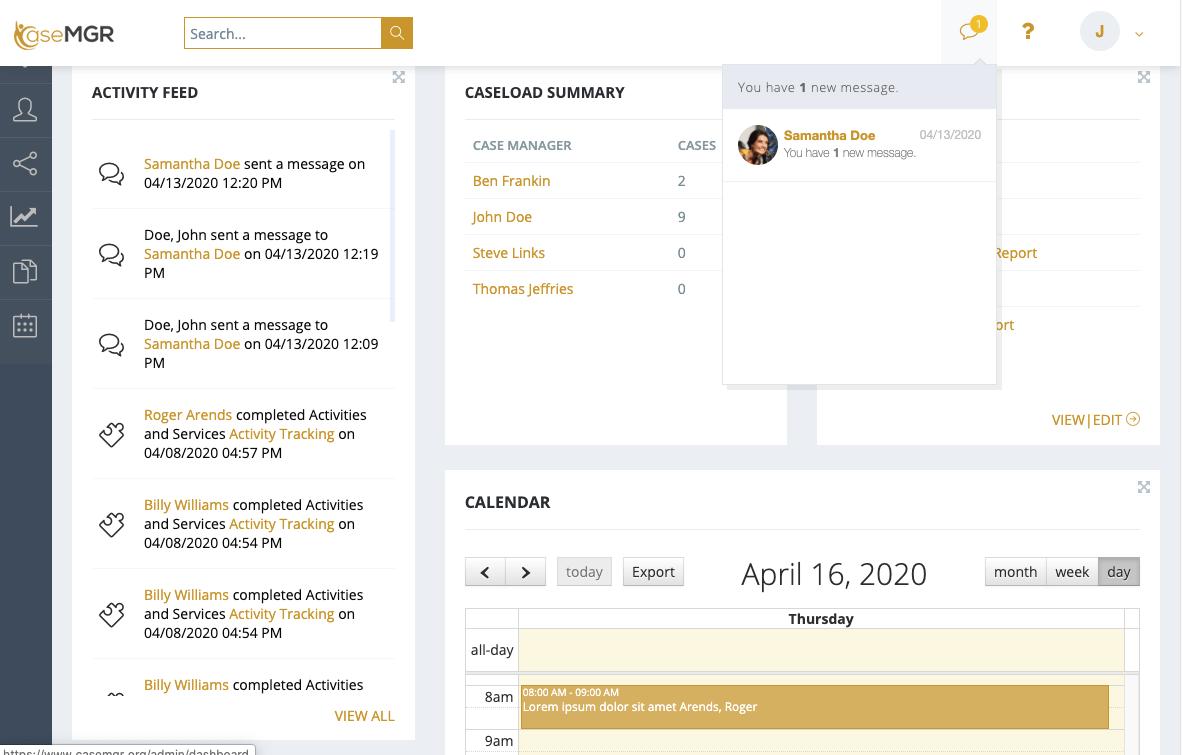 Messaging screen shot from CaseMGR
