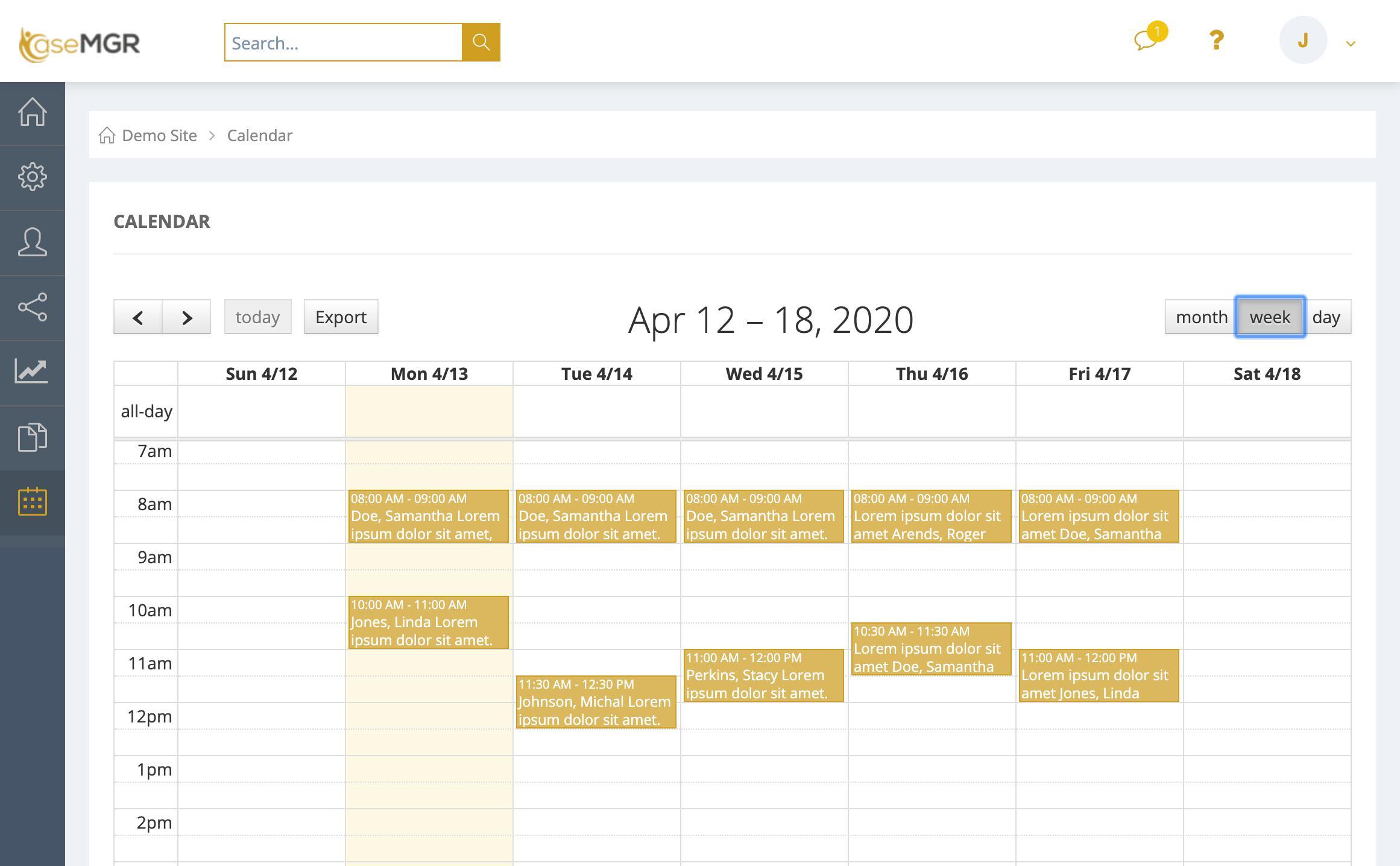 Schedule screen shot from CaseMGR